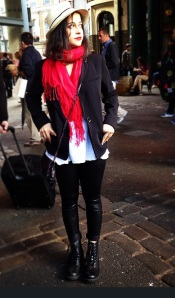 Hat from Thailand, Blazer from Mango, Scarf from Colaba Causeway, T-shirt from Zara, Faux Leather leggings from Vero Moda, boots from H&M, bag from Zara and lipstick MAC Ruby Woo.