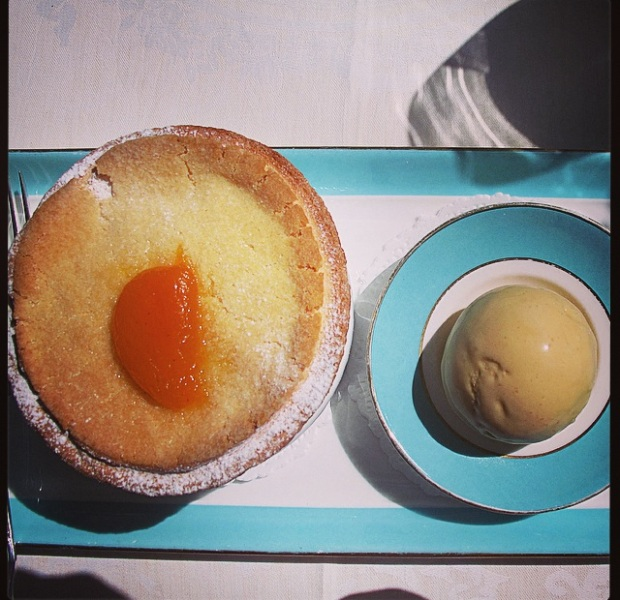 Apricot souffle - with almond ice-cream
