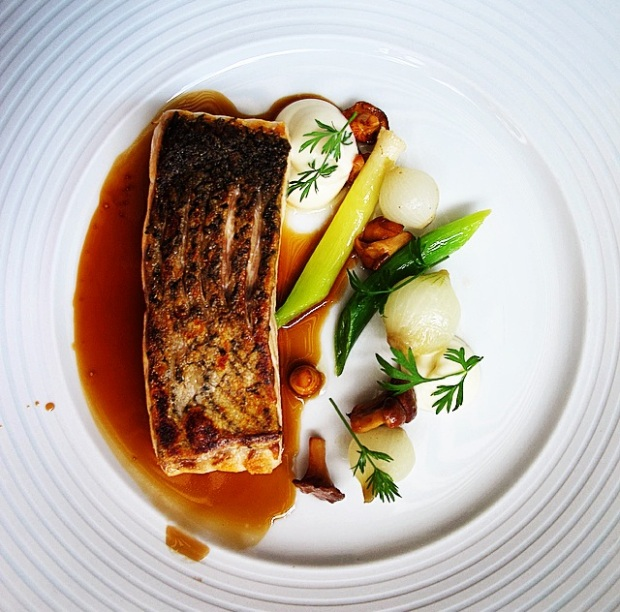 Sea Trout - cauliflower, leeks and champagne