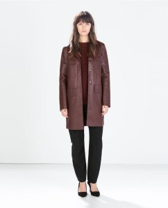 Straight-cut faux leather coat