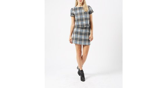 New Look Blue and Black Check Short Sleeve Top and Skirt
