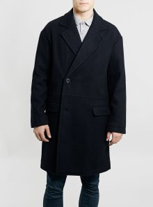 Navy Drop Shoulder Wool Blend Coat