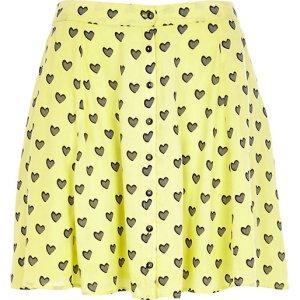 Yellow Chelsea Girl Heart Print Shirt and Skirt