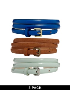 ASOS 3 Pack Ultra Skinny Tan/ Mint/ Navy Waist And Hip belt