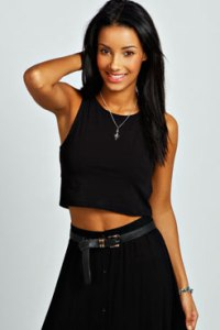 AMY STRETCH MUSCLE BACK CROP TOP