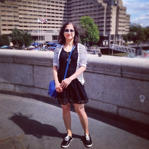 Laser -cut out dress, brand unknown, hand-me-up from sister; striped shrug from Pimkie; faux leather keds from Forever 21; blue bag from ASOS and Raybans.