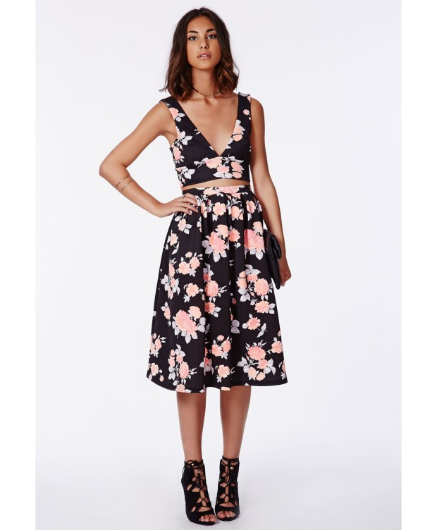 Missguided Floral Scuba Bralet and Skirt