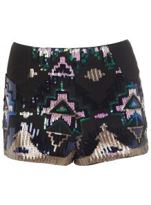 Miss Selfridges Blue Aztec Sequin Bra Top and Skirt