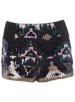 Miss Selfridges Blue Aztec Sequin Bra Top and Skirt