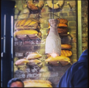 The bread display against the lamps, which I loved