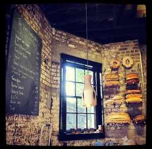 The adorable bread display and the chalk board menu
