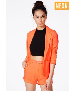 Missguided Tiffany Premium Blazer and Shorts in Neon Orange