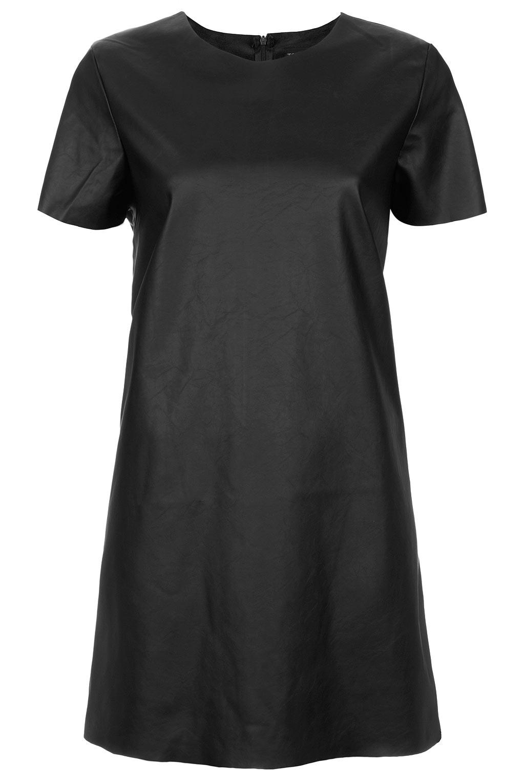 Black t shirt dress topshop - Topshop Leather Look T Shirt Dress