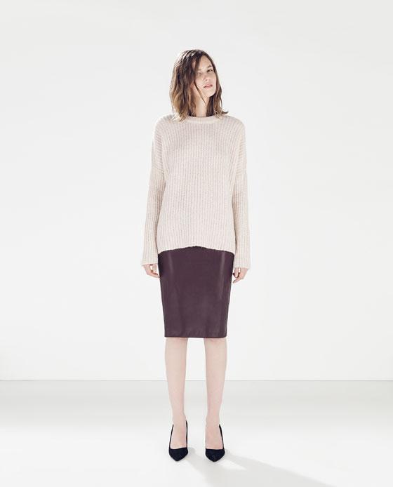 Zara Faux Leather Skirt in Aubergine