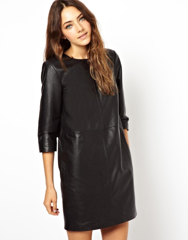 ASOS Shift Dress in Leather