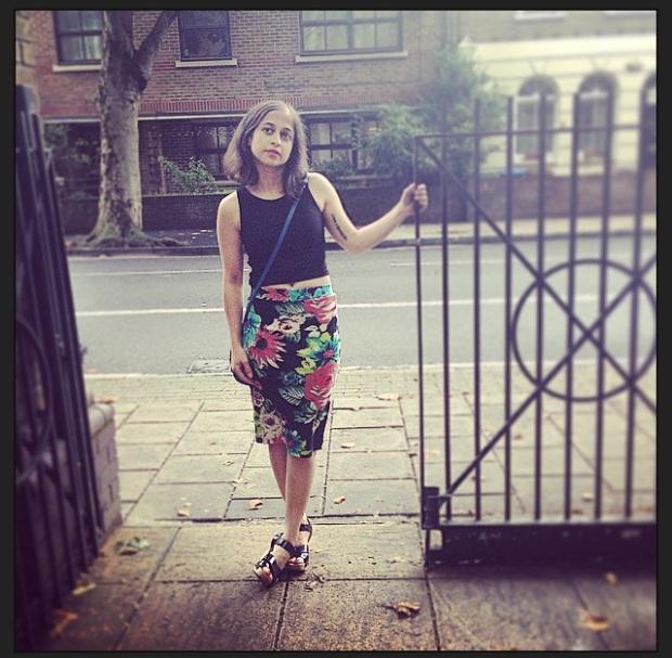 Boohoo Black Crop top, Splash Floral Pencil skirt and Gap wedge heels.