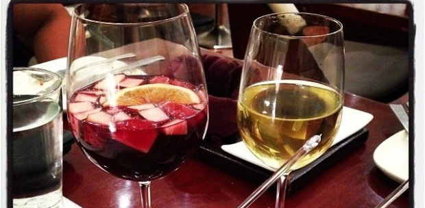Red wine and Peach Sangria at Smoke House Deli.