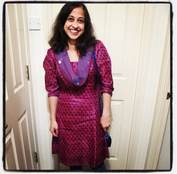 Tailored Raw Silk kurta and chiridar, ASOS Blue Leather Bag and FabIndia leather slippers