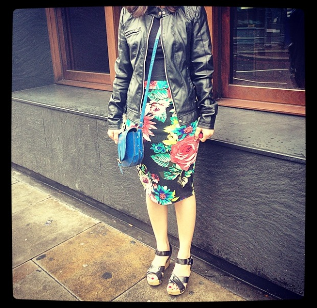 Vero Moda Faux Leather Jacket and ASOS Blue Leather Bag