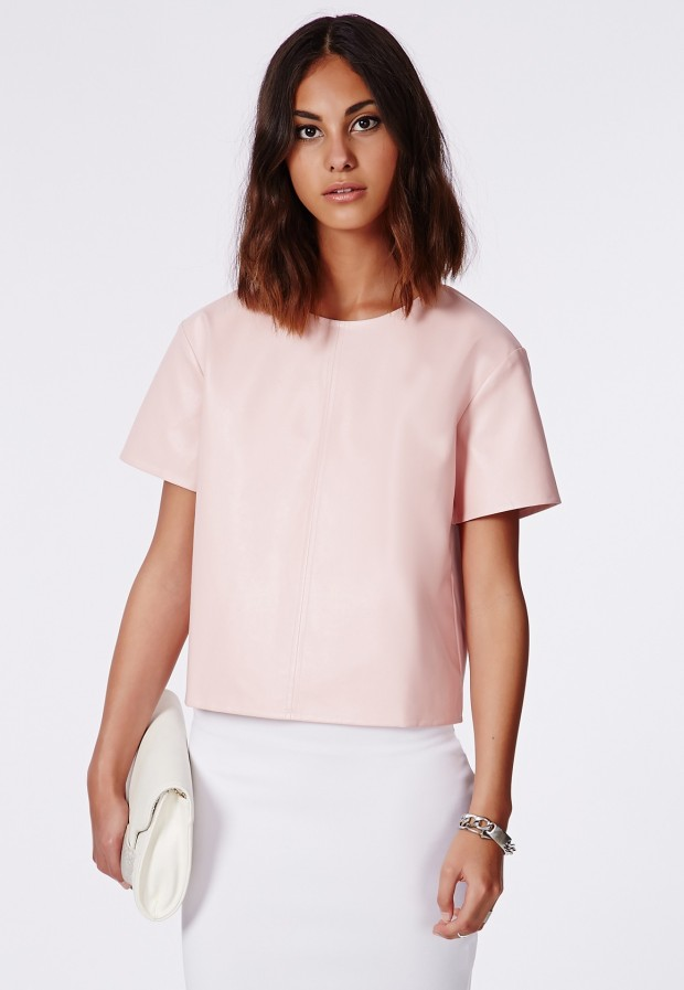 Missguided Haraya Faux Leather Sheel Top