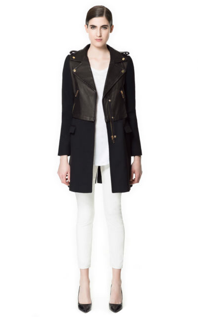 Zara Black Leather Boker Coat