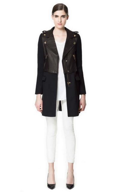Zara Black Leather Boker Coat