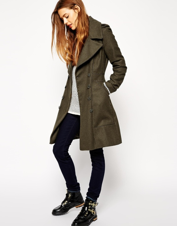ASOS Coat with Military Panel Detail - 67% wool