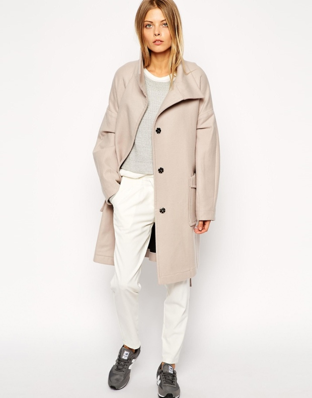 ASOS Coat With Kimono Sleeve And Funnel Neck