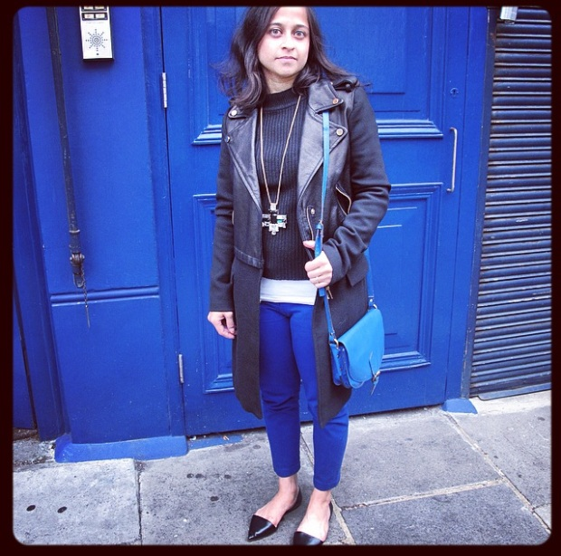 Black high-neck ribbed jumper (unknown brand, very old), white camisole and blue trousers from H&M, black biker jacket + coat and shoes from Zara and pendant from Anthropologie.