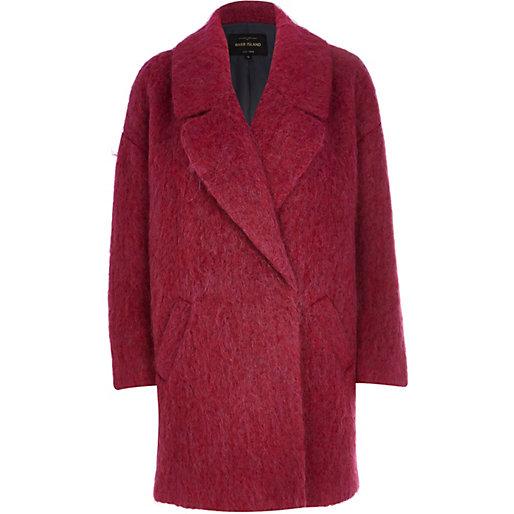 River Island Dark Pink Oversized Coat - 38% wool + 28% mohair