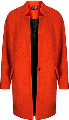 Topshop Orange Boiled Wool Notch Neck Coat