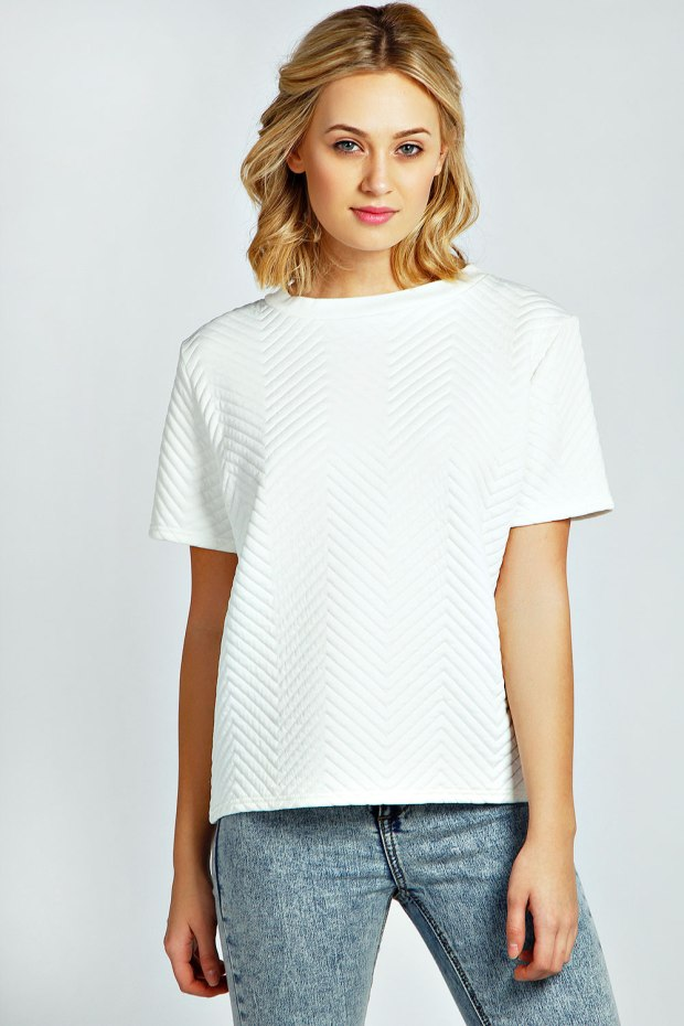 Boohoo Chevron Quilted White Boxy Top