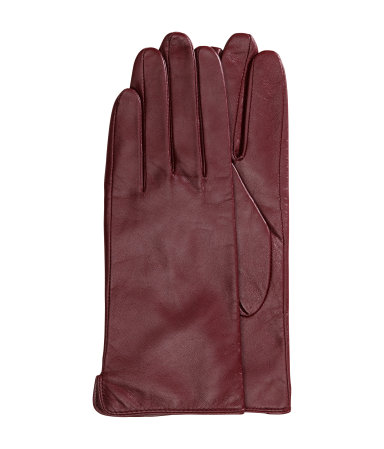H&M Leather Gloves in Burgundy