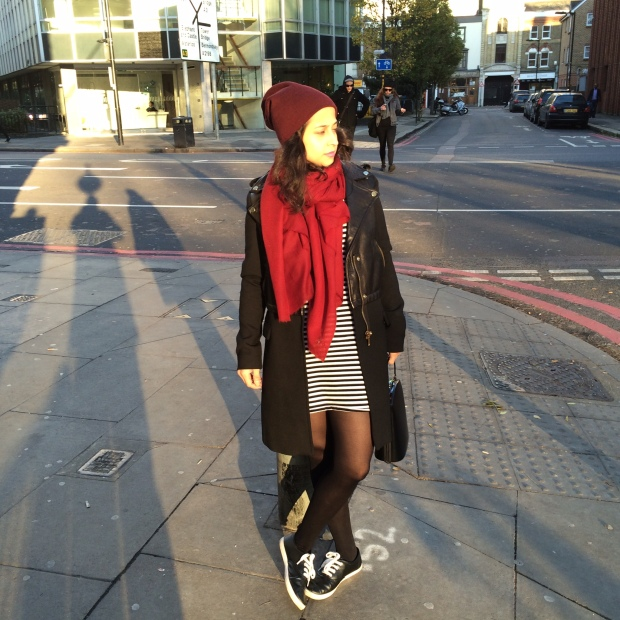 Sheinside striped tee dress, black high neck ribbed jumper (unbranded), Zara leather coat + biker jacket, Forever 21 maroon beanie and black faux leather plimsolls, brick red scarf and structured bag.