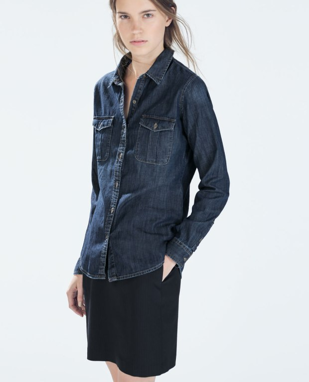 Denim Shirt with Military Details