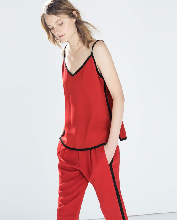 Zara Strappy Top with Contrast Piping and Trousers with Side Stripe