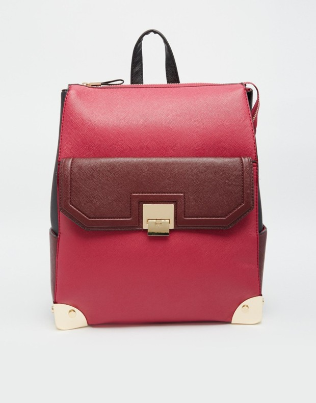 New Look Structured Backpack with Contrast Trim and Front Pocket