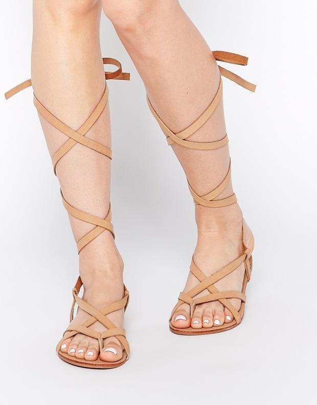 Glamorous Tan Strap Flat Gladiator Sandals