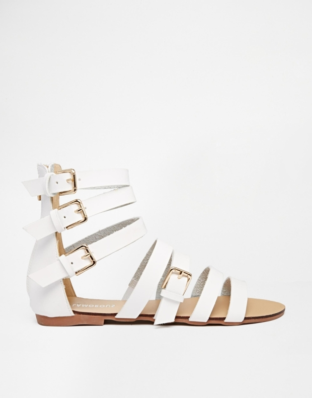 Glamorous White Gladiator Strap Flat Sandals