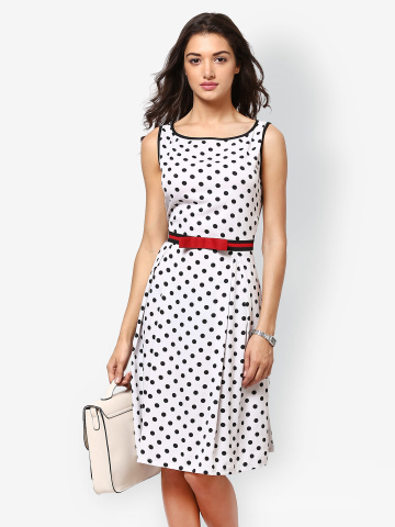 Eavan White Polka Dot Printed Fit & Flare Dress