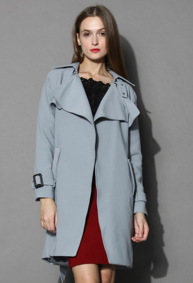 Chicwish Textured Belted Trench Coat in Grey