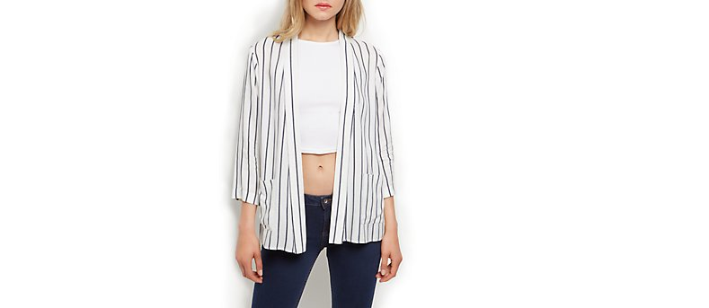 New Look Striped White and Black Pinstripe Blazer