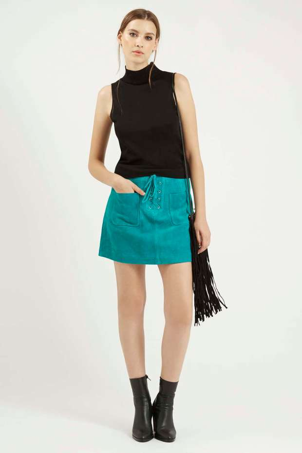 Topshop Turquoise Blue Suede Skirt
