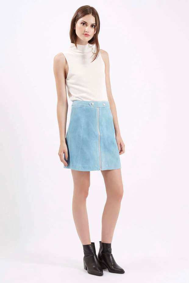 Topshop baby Light blue Suede Skirt