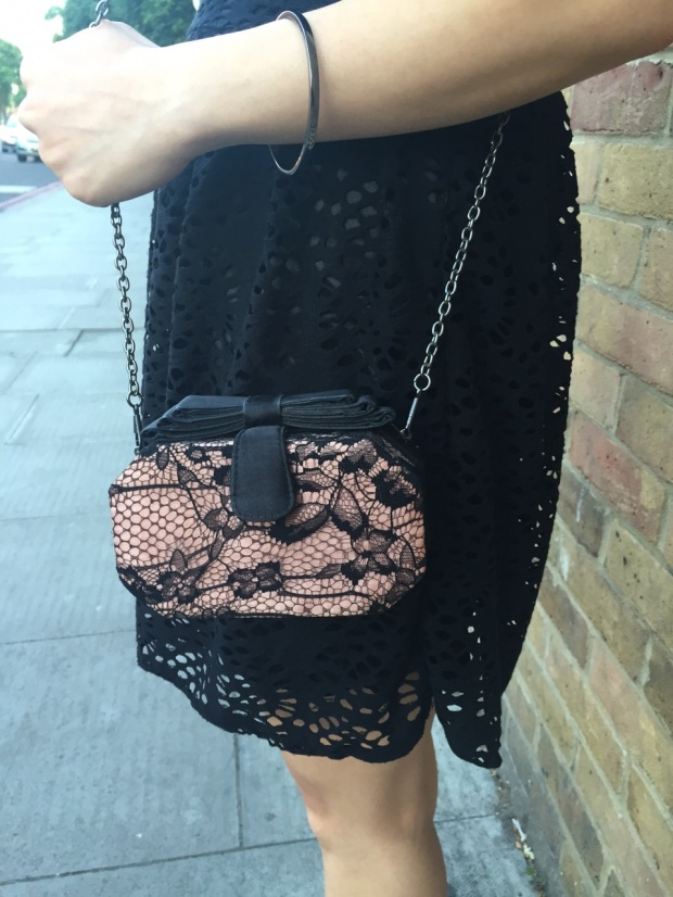Blair Waldorf Forever New black and pink lace bag
