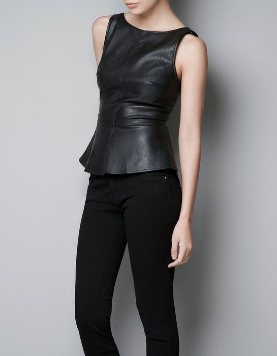 Zara peplum leather top