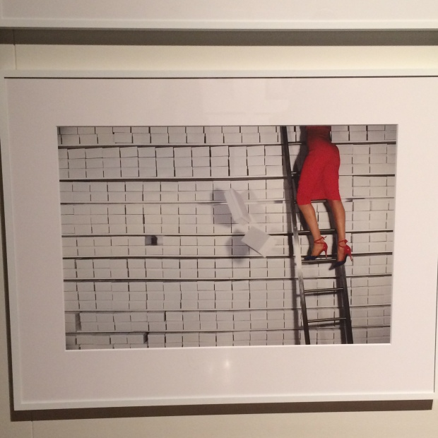 Ladder red skirt woman climbing Guy Bourdin