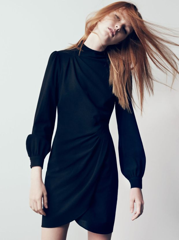 Zara bell sleeve wrap dress