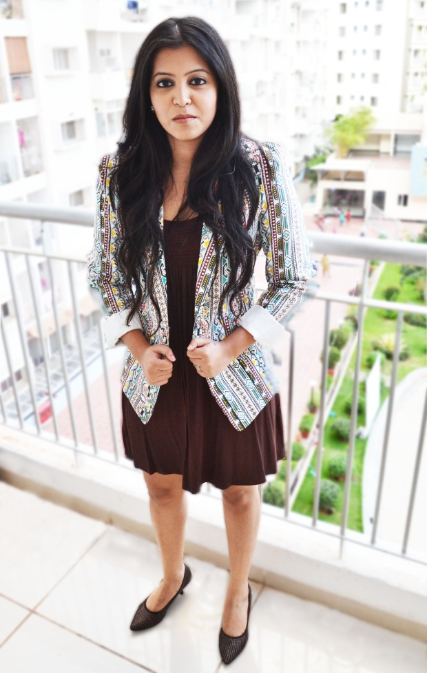 Brown dress with printed blazer
