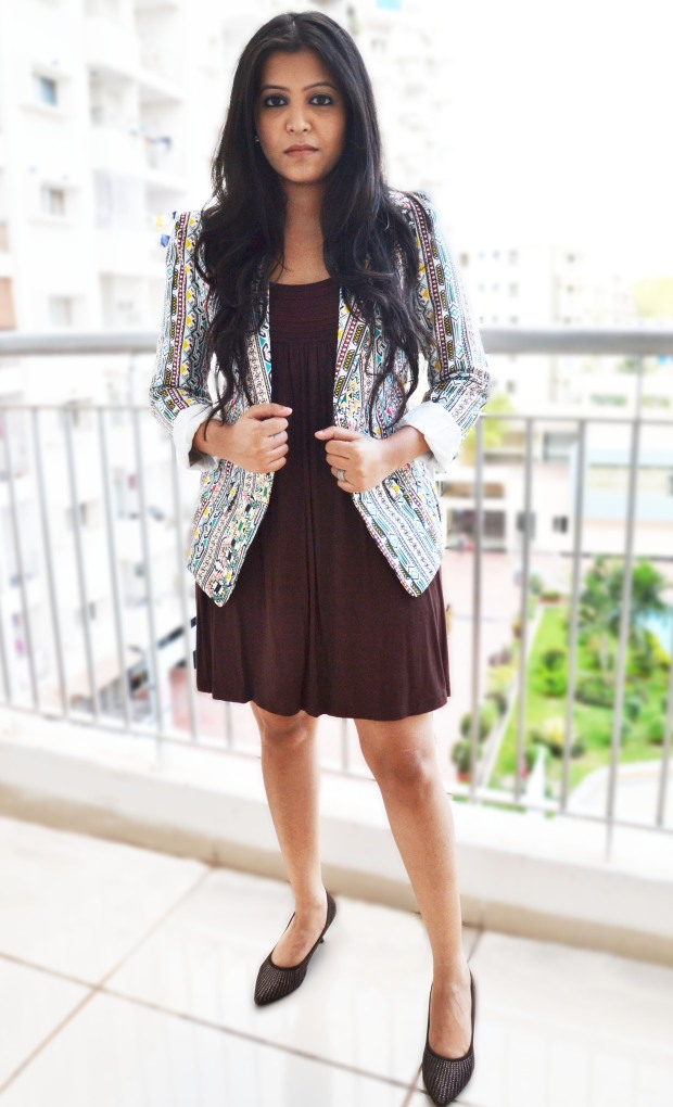 brown dress with printed jacket